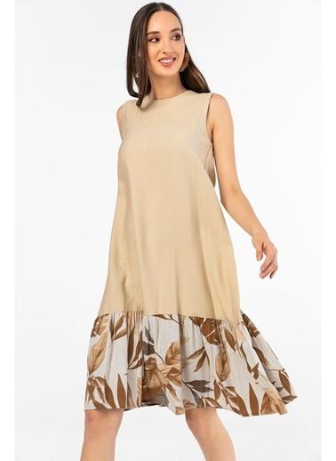 Tiffany&Tomato Palmiye Garnili Midi Keten Elbise-Vizon Vizon
